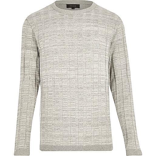 Light grey wide ribbed slim fit sweater