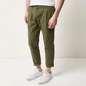 Khaki green slim chino trousers