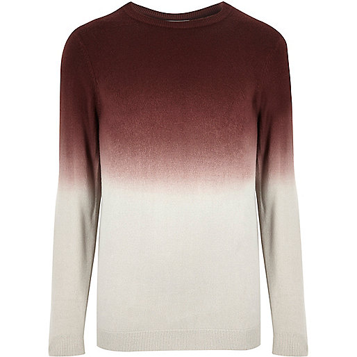 Burgundy faded dip dye jumper