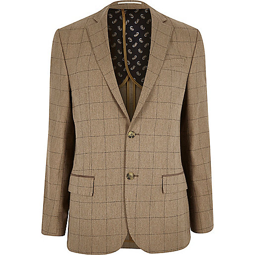 Camel check wool-blend tailored fit blazer