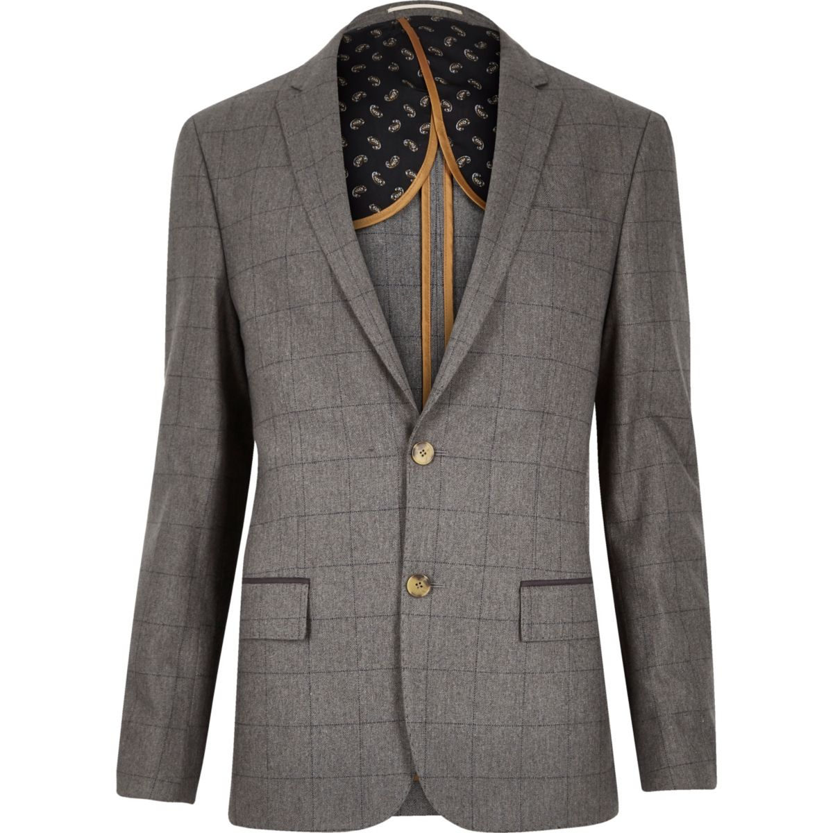 Grey check skinny suit jacket