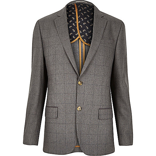 Grey check tailored blazer