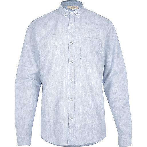 Blue melange waffle shirt
