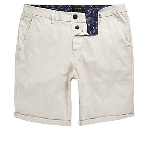 Stone grey slim fit chino shorts