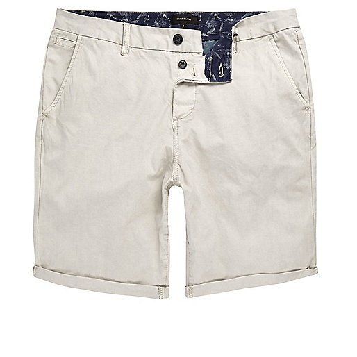 Stone grey slim fit chino shorts
