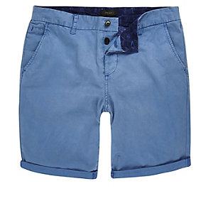 Blue slim fit chino shorts