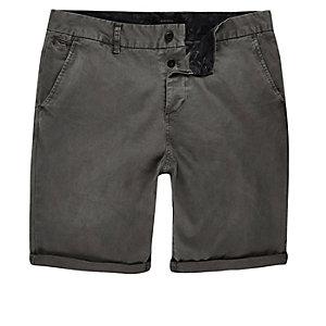 Dark grey slim chino shorts