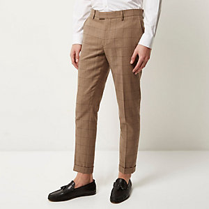 Camel check skinny cropped pants