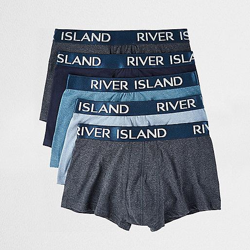 Lot de boxers bleus avec marque taille basse