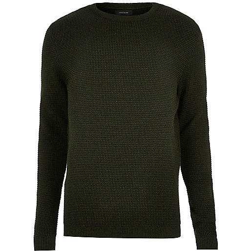 Dark khaki textured jumper