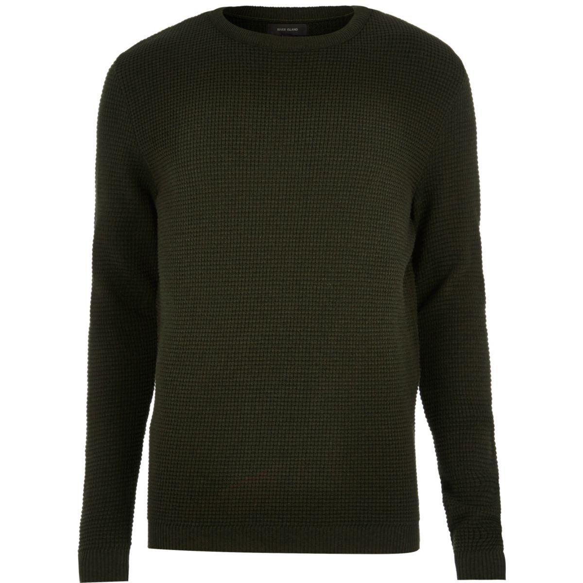 Dark khaki textured sweater