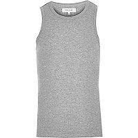 Grey slim fit ribbed vest