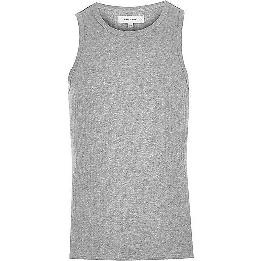 Graues, schmales, geripptes Trägerhemd