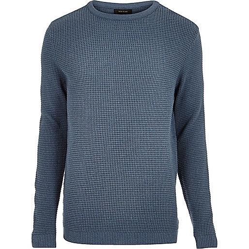 Blue textured waffle jumper