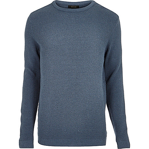 Blue textured waffle sweater