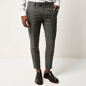 Grey check skinny crop trousers