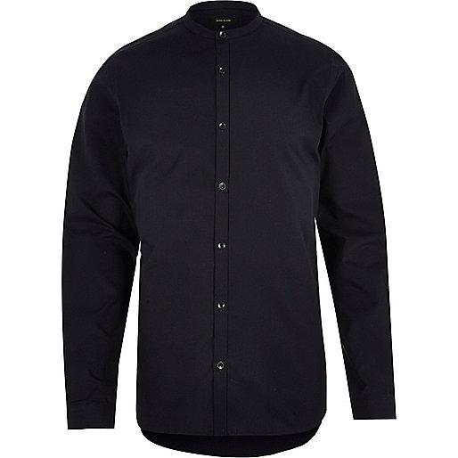 Navy slim fit grandad shirt