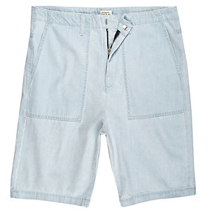 Light blue wash slim fit denim worker shorts
