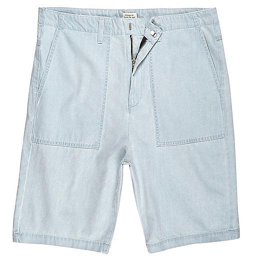 Light blue wash slim fit denim worker shorts