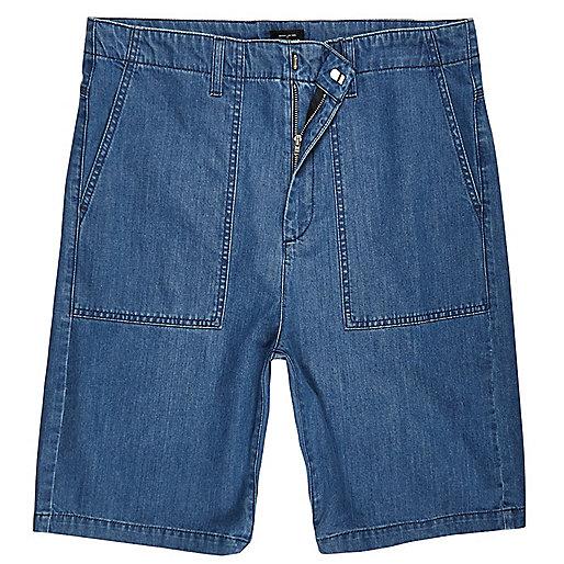 Mid blue wash wide leg denim worker shorts