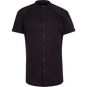 Donkerpaars slim-fit overhemd zonder kraag
