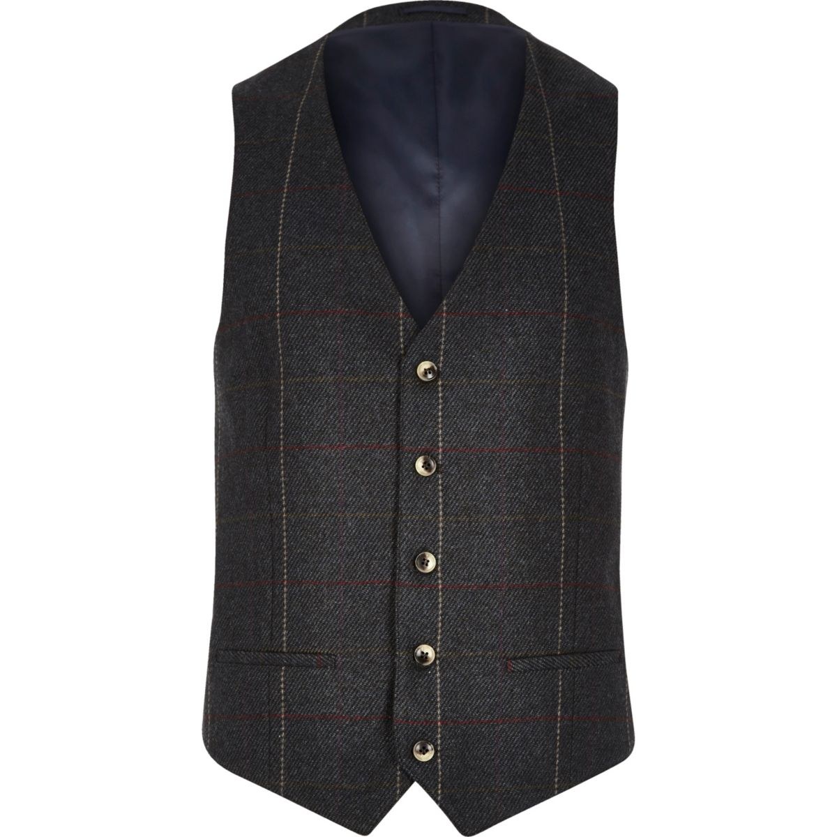 Dark green check vest