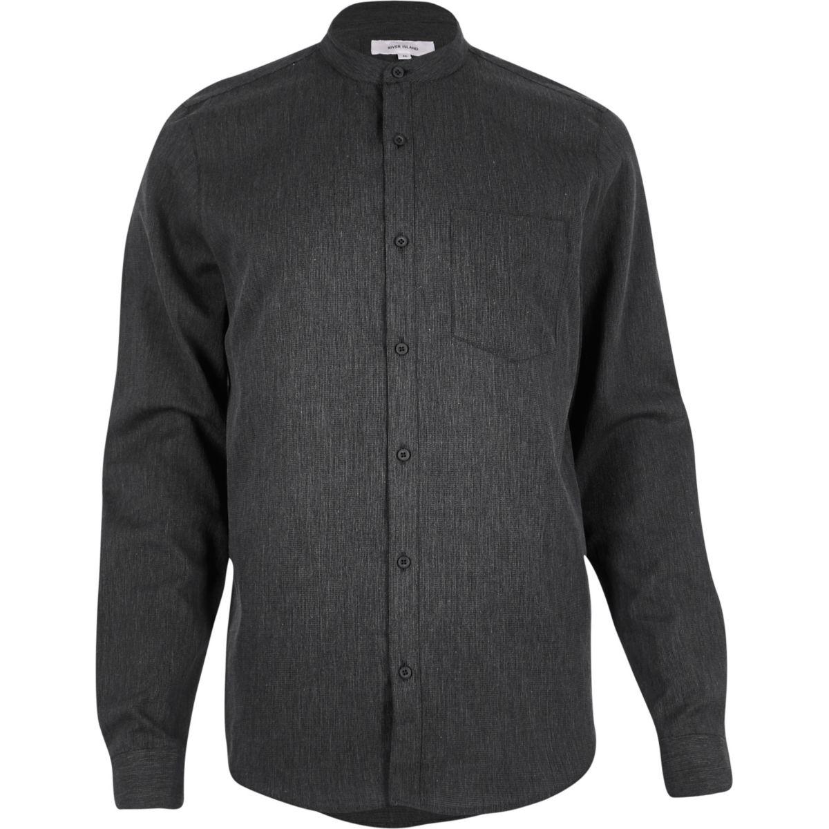 Grey waffle grandad collar shirt