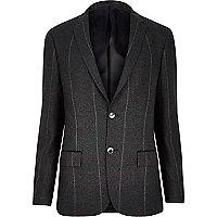 Dunkelgrün karierte Skinny-Anzugsjacke