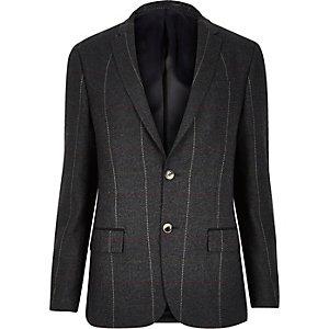 Veste de costume cintrée à carreaux vert foncé