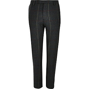 Donkergroene geruite skinny pantalon