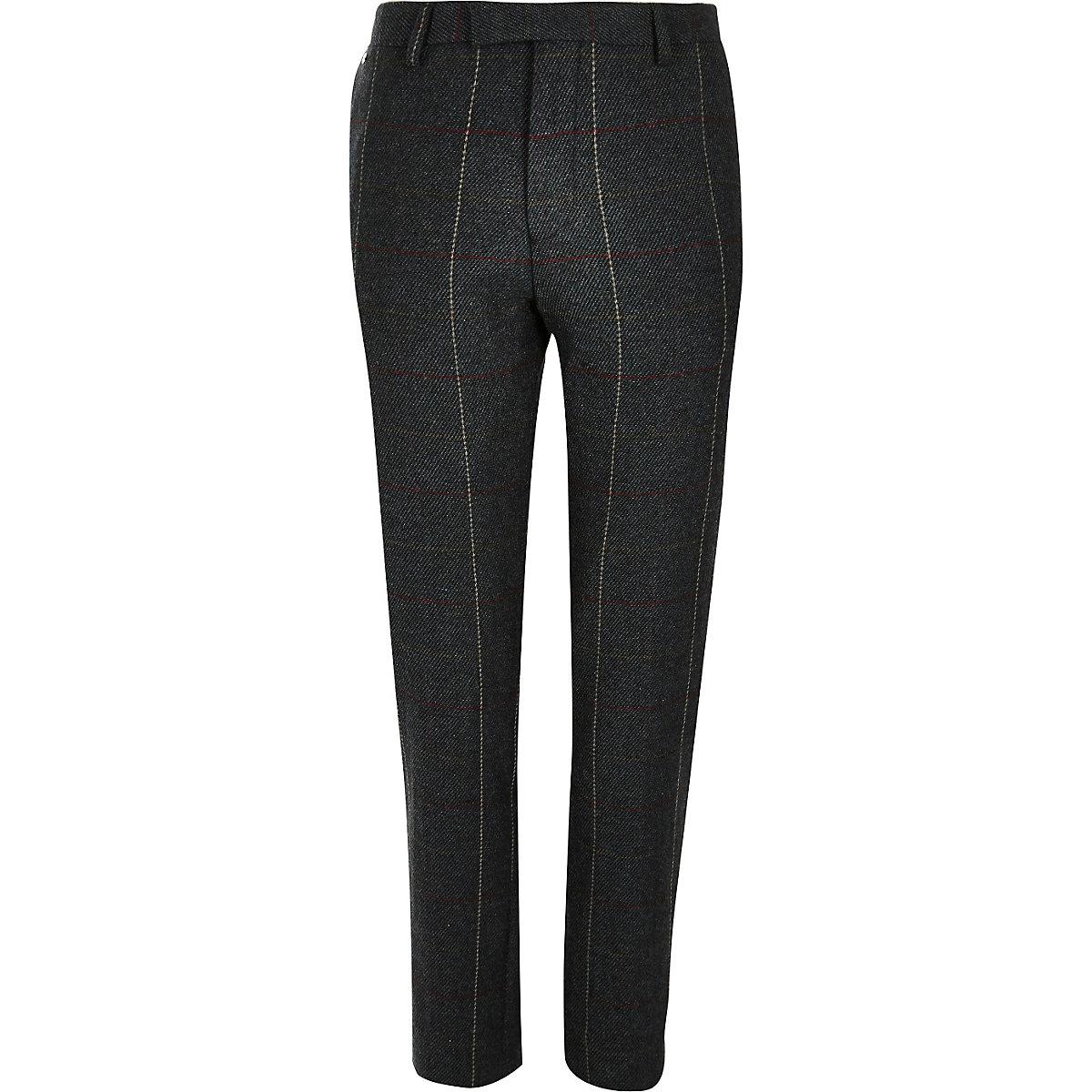 Dark green check skinny suit pants