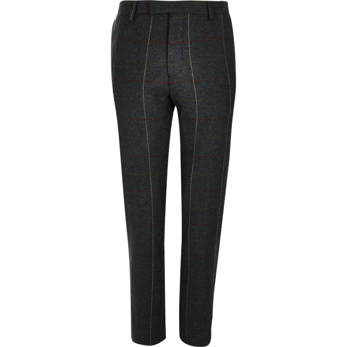 Dark green check skinny suit pants