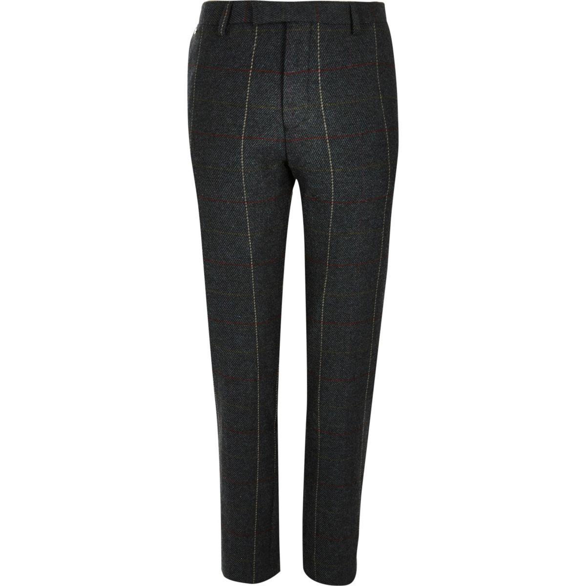 Pantalon de costume skinny à carreaux vert foncé