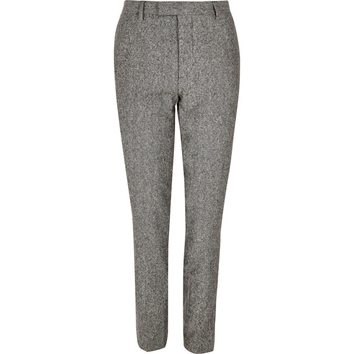 Grey neppy skinny suit trousers