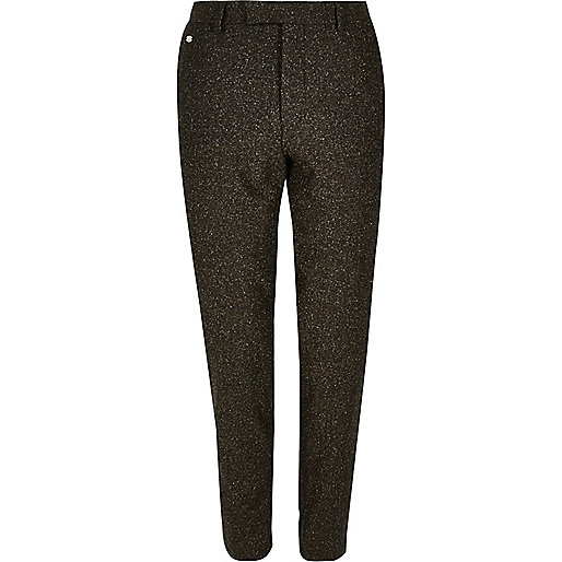 Brown neppy skinny suit trousers