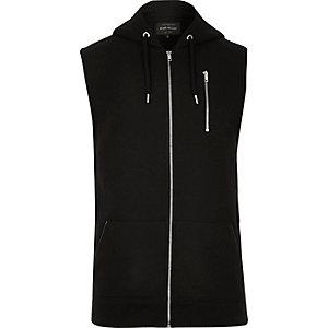 Black zip-up sleeveless hoodie