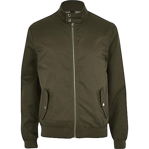 Khaki funnel neck harrington jacket