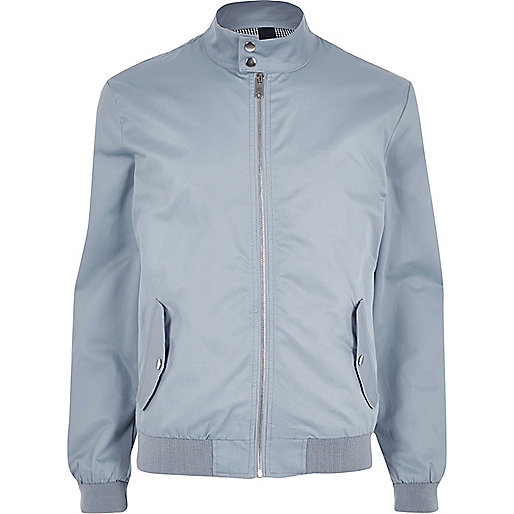 Blue funnel neck harrington jacket