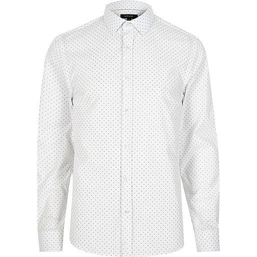 White dotty slim fit shirt
