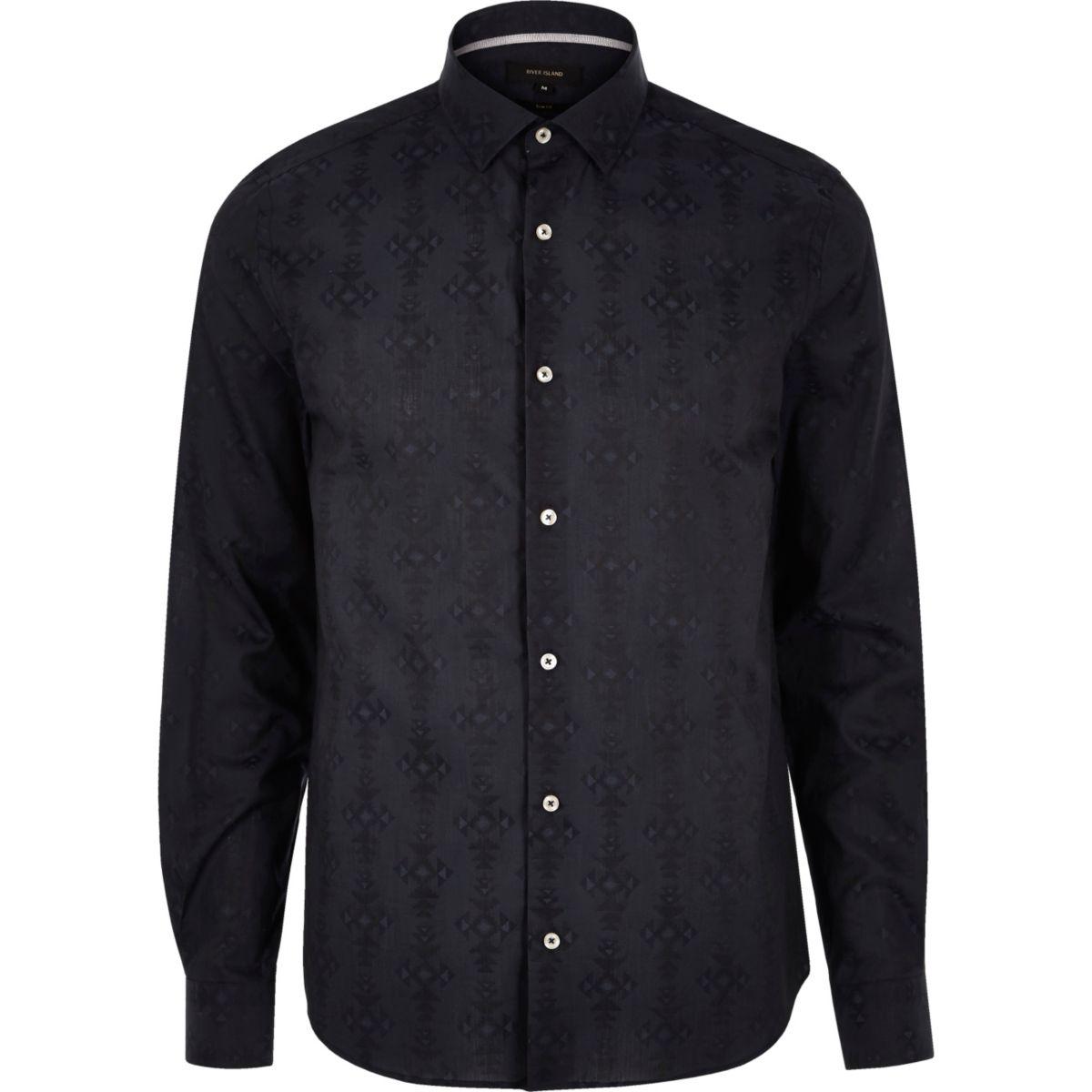 Navy geometric pattern slim fit shirt