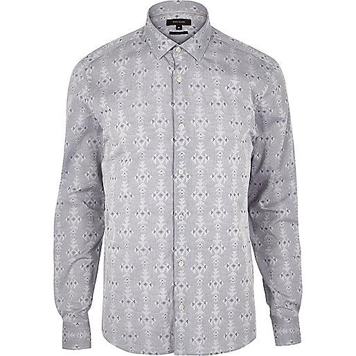 Grey geometric pattern slim fit shirt
