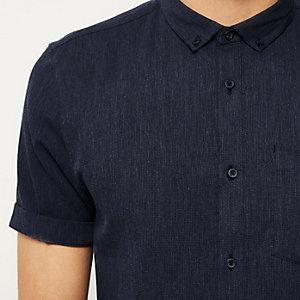 Navy waffle texture short sleeve shirt