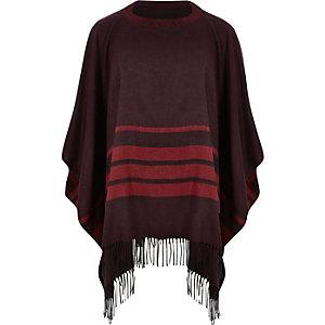 Red stripe tassel poncho cape