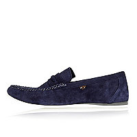 Navy blue suede woven slip on loafers