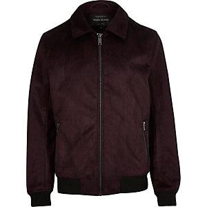 Burgundy faux suede harrington jacket
