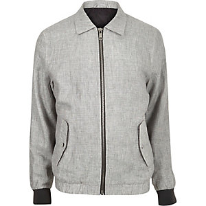 Grey linen casual jacket