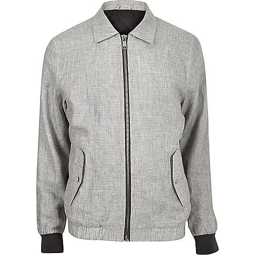 Grey linen casual jacket