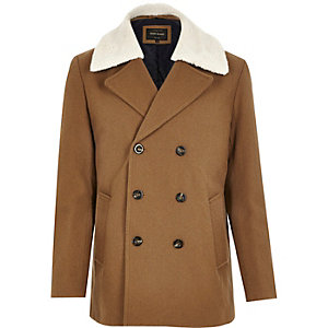 Brown smart wool-blend double breasted coat