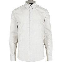 White micro dot slim fit shirt
