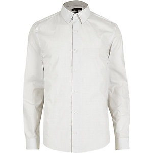 White micro dot slim fit shirt